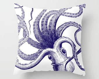 Octopus Pillow with insert - Octopus Throw Pillow with insert - Nautical Pillow with insert - Nautical Decor - Summer Decor -