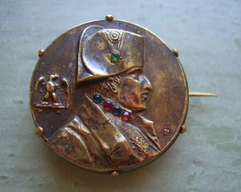 Stunning Antique Bronze Napoleon Brooch/Pin - Late Victorian - Signed Bronze - Studio Piece.