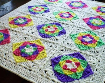 Granny Square Baby Blanket Crochet Pattern | Crochet Granny Square Blanket Pattern | Crochet Blanket | Crochet Pattern | PDF Download