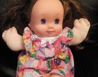 Vintage 1989 Mattel Magic Nursery Baby Doll Curly Hair Purple Eyes