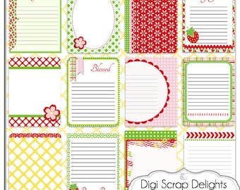 Project Life Inspired Journal Cards, Berry Pocket Cards, Printable PDF & PNG, Digital Scrapbooking, Instant Download