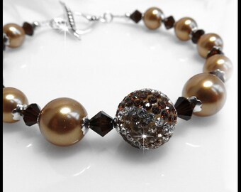 Bright Gold Swarovski Pearls Bracelet, Pave and Crystal Bracelet, Gold and Brown Jewelry, Sterling Silver Toggle, 2136