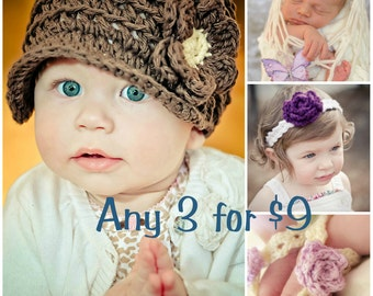 ANY 3 for 9 Dollars - Crochet Patterns - Sell what you Make