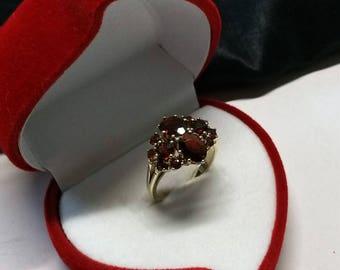 Ring gold 333 GR280 Garnet shabby vintage elegant
