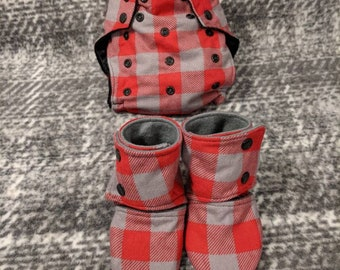 Plaid set pocket diaper and leather sole booties * cloth diaper * stay on baby shoes
