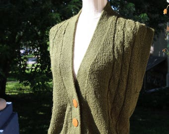 80s Forest Green Knit Cardigan