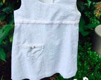 Girls summer white cotton dress