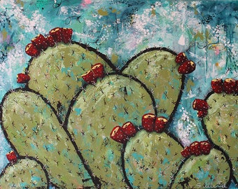 """ALONG THE COAST Large Expressionist Abstract Art, Blooming Cactus, 30"""" x 40"""" Acrylic Mixed Media Painting"""