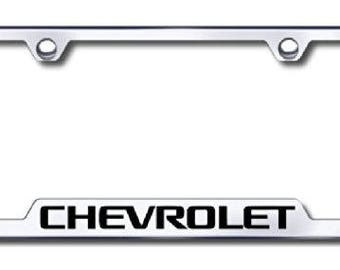 Chevrolet License Plate Frame - Laser Etched Cut-Out Frame - Stainless Steel