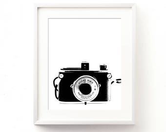 camera print, camera artwork, photography, printable file, black decor, minimalist, modern printable, camera illustration, photographer dorm