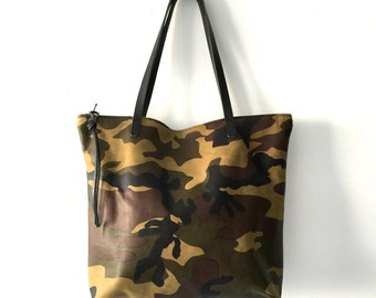 Camouflage Leather Tote Bag with zipper , large Leather Laptop bag, Green Leather carryall bag- Sale