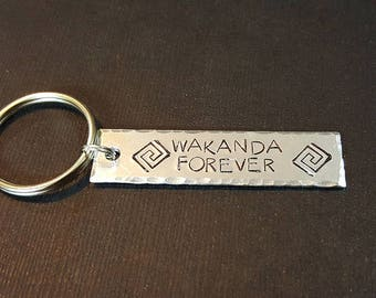 Wakanda Forever - Black Panther Inspired Aluminum Key Chain Fob - King T'Challa - Hand Stamped