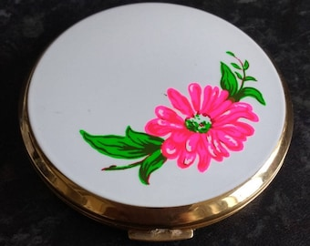 Vintage Stratton Neon Pink Flower Compact