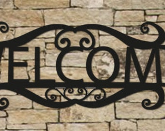 Welcome Sign, Wall Art, House Numbers, House Sign, Wall, Art, Metal, Iron, Black, 15 inches
