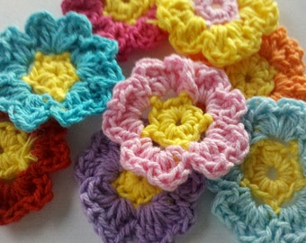 15% off Thanksgiving Day Sale 24 Handmade Crochet Flower Appliques Sewing Bow, for scrapbooking, clippie clips