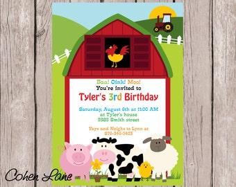 Barnyard Birthday Invitation. Farm Party Invitation.  Farm Birthday Invitation.  Barnyard Invite.  Red Barn Invitation.