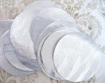 "200 pcs 1"" Silver Lame Hand cut Fabric Circles - Gold Metallic Tissue Lame Fabric"