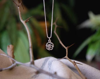 Silver Necklace,Lace Necklace,Dainty Necklace,Organic Nicklace,Silver Pendants,#172