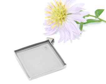 Stainless Steel Caboshon Pendant Tray Blanks Diamond Shape 20x20mm
