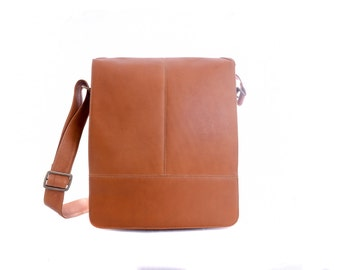 Genuine Vaquetta Tan or Brown Leather Crossbody Bag, Messenger Bag, Laptop Bag, Hand crafted in Colombia