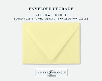 ENVELOPE UPGRADE Yellow Sorbet Envelopes Add-On for Amber Mangle Designs Print Order Invitations A7 Note Cards A2 Stationery A6