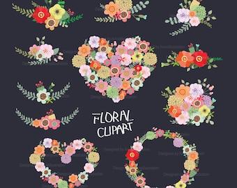 Floral Clipart,Border Clipart,Spring Clipart,flower Clipart,Wedding Cliaprt,Vintage flowers Clipart,Vector,Blush Flowers Clipart_ FW7