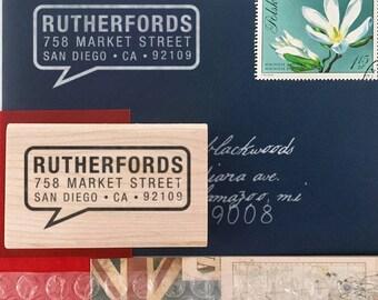 Custom Address Stamp, Self Ink Return Address Stamp, Custom Address Stamps, Self Inking Personalized Stamps, Speech Box Address Stamp, Gifts