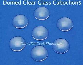 20 Round 16mm Glass Cabochons - Clear glass domed tiles for ring blanks, pendants, earrings. (16MDCAB)
