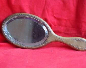 Ancien miroir à main en bronze, probablement XIXème siècle