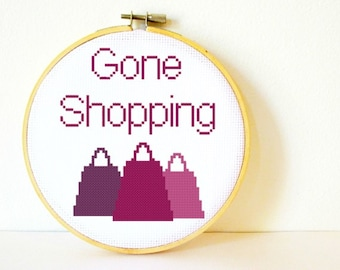 Counted Cross stitch Pattern PDF. Instant download. Gone Shopping. Includes easy beginners instructions.