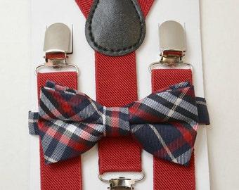 SET 8 months- 10 Years Kids Children Toddler Baby Boys  RED Suspenders & Navy Blue Red Plaid Tartan Pre-Tied Adjustable Bowtie Bow Tie