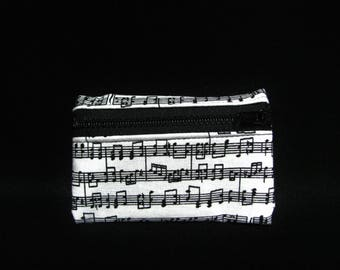 Small pouch- Black and white music note cotton