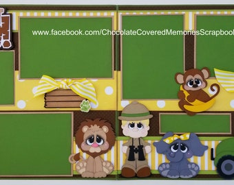 What a Zoo! 12x12 Premade Two Page Scrapbook Layout Scrapbooking Paper Piecing