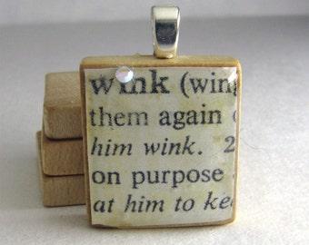 Wink - vintage dictionary Scrabble tile with Swarovski crystal