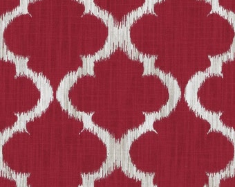 Dark Red Geometric Upholstery Fabric - Red White Cotton Curtains - Red Moroccan Fabric - Custom Red Roman Shade - Trellis Pillow Covers