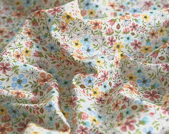 Flowers Cotton Fabric, Floral Fabric - Orange - Fabric By the Yard