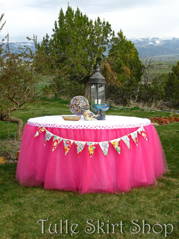 Hot Pink Tulle Table Skirt Tutu Tableskirt For Princess