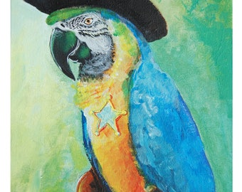 CANVAS PRINT - Quick Draw Macaw - There's a new sheriff in town Macaw Painting
