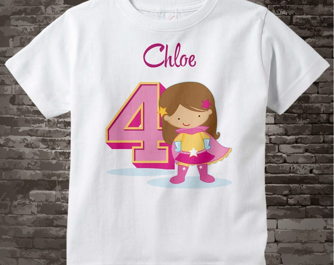 Girl's Personalized Superhero 4th Birthday Tee Shirt with light brown hair and caucasian skin 01172017e
