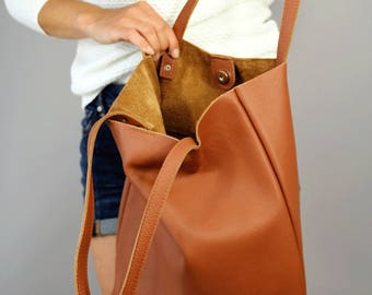 Camel leather tote bag, Leather Tote bag, Soft leather bag, Women bag, Women  handbag,  Tote bag leather, Tote woman, Brown leather tote bag
