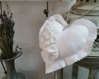 White fabric heart romantic country bow