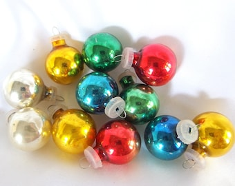 11 Colorful Feather Tree Ornaments, Vintage Small Christmas Baubles