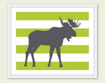 Moose Art Print - Moose Nursery Wall Art - Woodland Moose Print - Modern Moose Wall Art - Green and Gray - Green Stripes Print - Aldari Art