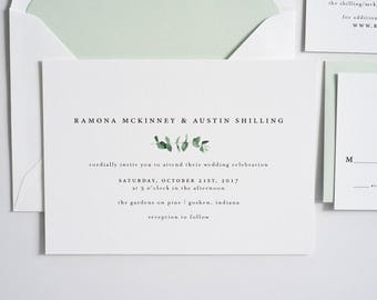 Greenery Wedding Invitation, Eucalyptus, Greenery Invite, Simple Wedding Invitation:  RAMONA.