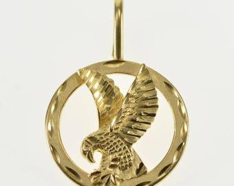 14K Round Stylized Flying Soaring Eagle Bird Pendant Yellow Gold