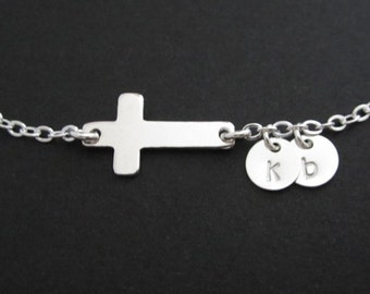 Sterling Silver Cross Bracelet. Personalized Jewelry. Tiny Initial Silver Discs. Encouragement. Strength Gift. Friendship Gift. Monogrammed
