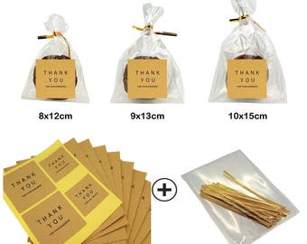 Flat Cellophane Bags with Square Thank You Sticker for Gift Packaging, Kraft Paper, Pack of 40