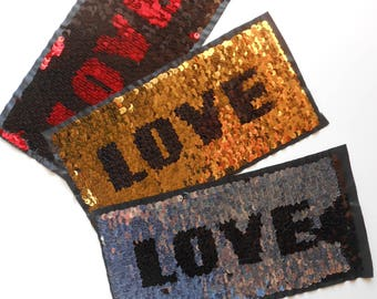 LOVE Sequins Large Embroidered Sew on Applique