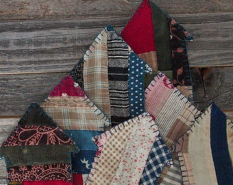 Log cabins Vintage cutter quilt ornaments earth colors blues black maroon greens home decor Christmas