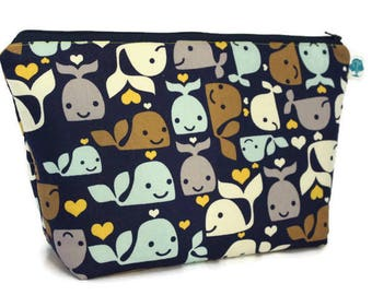 Extra Large Cosmetic Bag - Toiletry Bag - Travel Bag - Makeup Bag - Wet Bag - Accessory Pouch -  in Whales